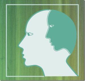 Symbool voor de innerlijke criticus: lichter hoofd met donkerder hoofd op de plaats van de hersens.